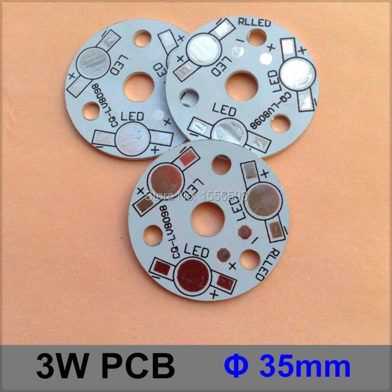200 Pcs/lot LED Aluminum Plate 3W Round Diameter 35mm LED High Power PCB Plate Circuit Base For 3W LED Lamp