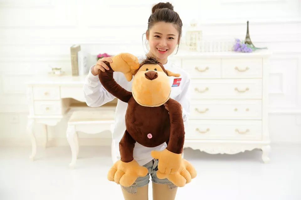 large 60cm font b cute b font monkey plush toy cartoon jungle monkey soft doll throw