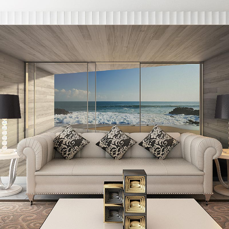 Home Office Decor Wall Paper Modern Living Room TV Wall