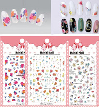 3 sheet 8 type Japanese Ultrathin Nail Stickers Designs Gummed 3D Nail Art Stickers Decals Makep