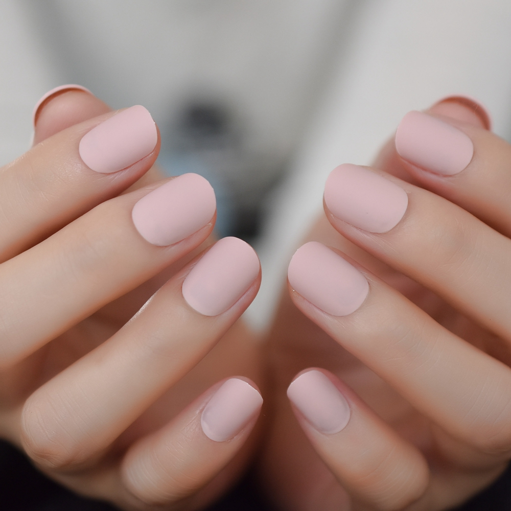 Matte Short Nails Squoval Pink Frosted Nails Press On Nails Artificial  Scrub Designed
