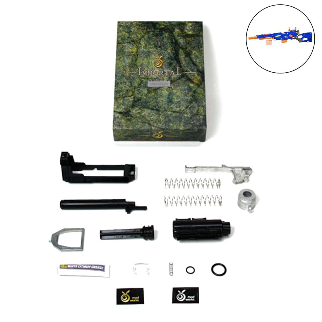 Arancione Mod Lavoro Diretto Tipo di pulsante Modificato KitIncludes (5 + KG e 7 + KG Primavera) per Nerf N-Strike Longstrike CS-6 Dart Blaster