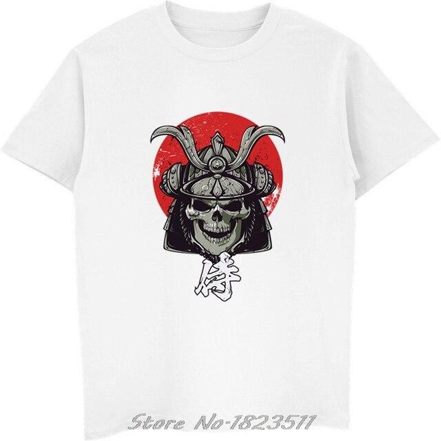 4bcc2d17 Summer Red Moon And Samurai Skull Printed T Shirt Men Fashion Japanese  Harajuku Ninja Tshirt White T-shirt Male Casual Tops