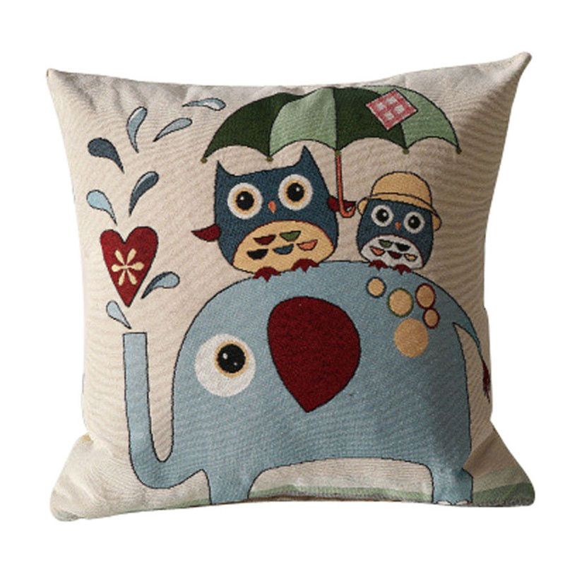 1PC Quality Cartoon owls under umbrella pillowcase cover Elephant animal cartoon style cushion pillow slip drop shipping on sale