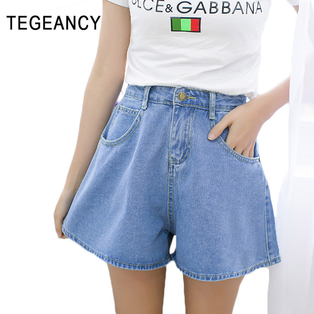 Mujeres pantalones cortos de mezclilla de alta cintura flare corto feminino verano algodón bermudas vaqueros de pierna ancha floja de gran tamaño XL azul bolsillo
