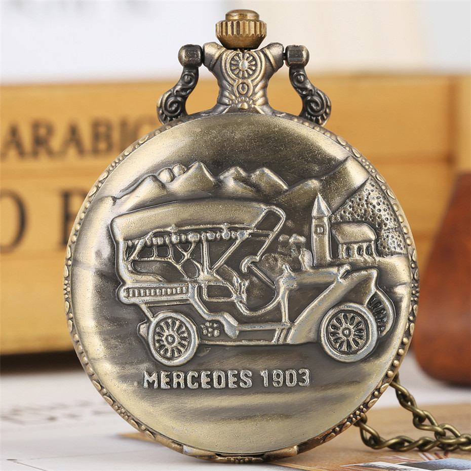 Bronze Car Display Full Hunter Quartz Pocket Watch Steampunk Chain Pendant Clock For Men Women Antique Jewelry Watch Gifts