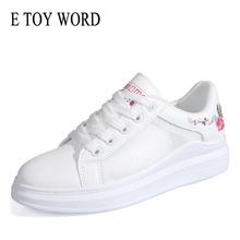 E TOY WORD Small white Shoes 2019 Summer thick-soled Breathable Mesh Womens Sneakers flat shoes New Women