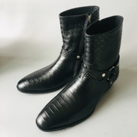 Fashion luxury dragon skin high quality cowhide brogue business black ring male boots formal banquet Boots