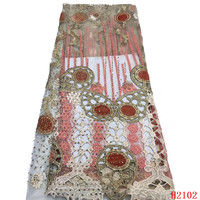 High Quality Beaded African Lace Sequins Embroidered French Lace For Dress HX2102