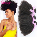 7A Barato Afro Rizada Rizada Virginal Mongol Del Pelo Rizado rizado 3 unids/lote WeavesHair luving Hair Extensión Natural Del Pelo Negro
