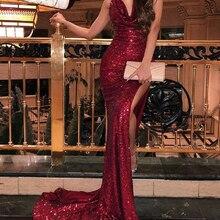 Бордовые платья для выпускного вечера с блестками, сексуальные длинные платья с v-образным вырезом и открытой спиной, вечерние платья robe de soiree longue