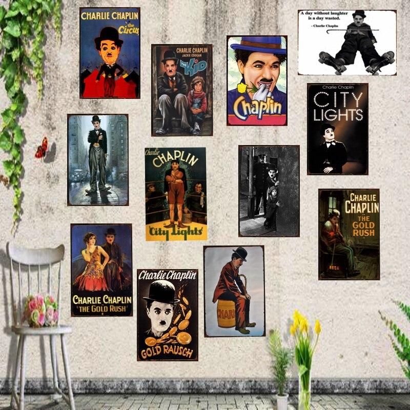 Charlie Chaplin Classic Movie Tin Sign Metal Plate Iron Painting Wall Bar Restaurant Home Art Craft Decor 30X20CM DU-1128