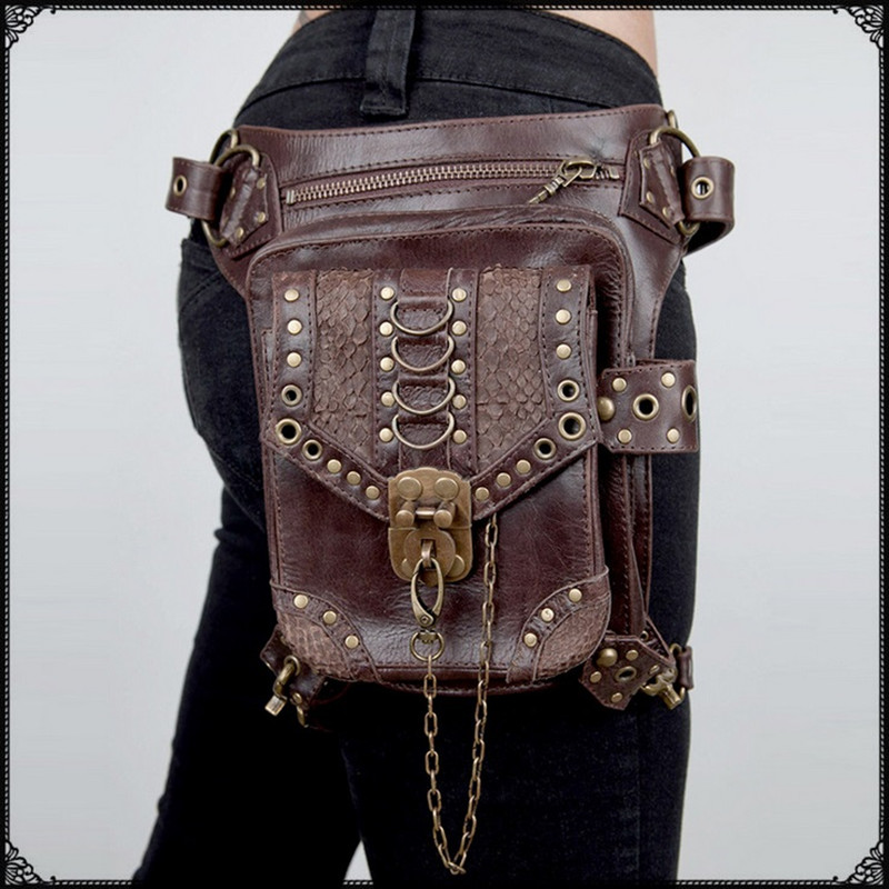 2018 Ny toppkvalité PU Läder Kvinnors midja Märke Ride Ben Drop Bag Punk Rock Motorcykel Skull Messenger Shoulder Pack