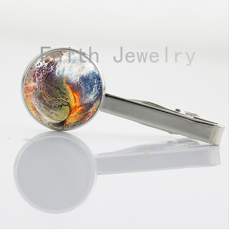 Abstract art charm life tree pture tie clips Insurgent sea tsunami burning tree tie bar handmade men jewelry NS017
