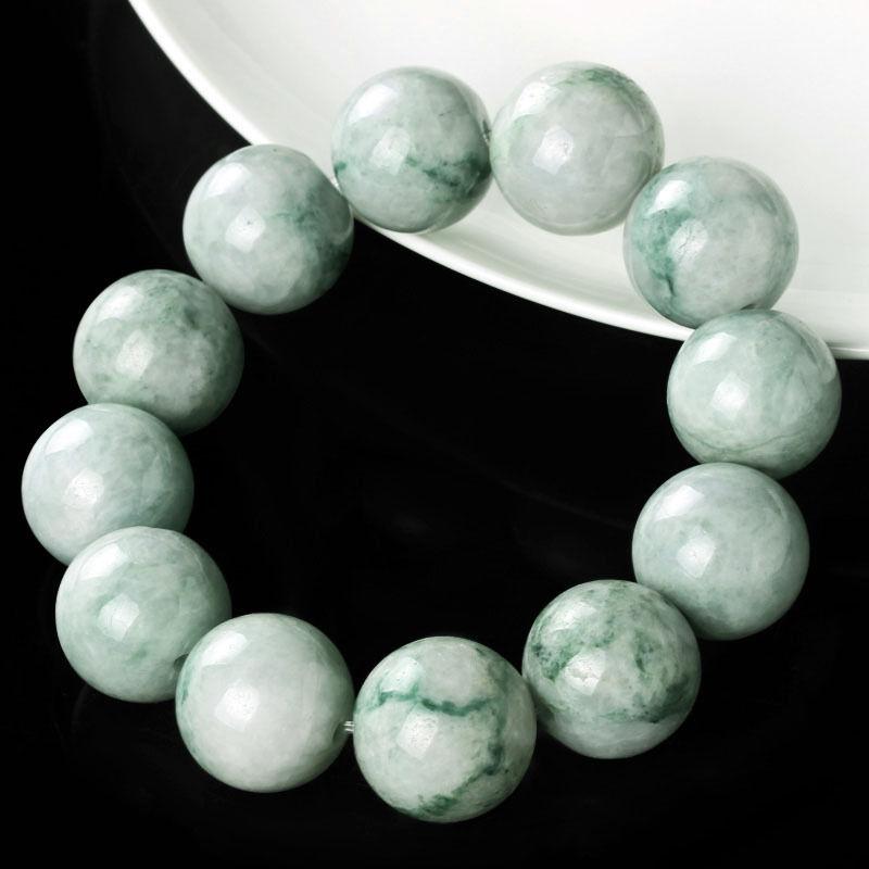 Natural Grade A Jade (jadeite) 18mm Green Bead Bracelet Blessing 20cm LNatural Grade A Jade (jadeite) 18mm Green Bead Bracelet Blessing 20cm L