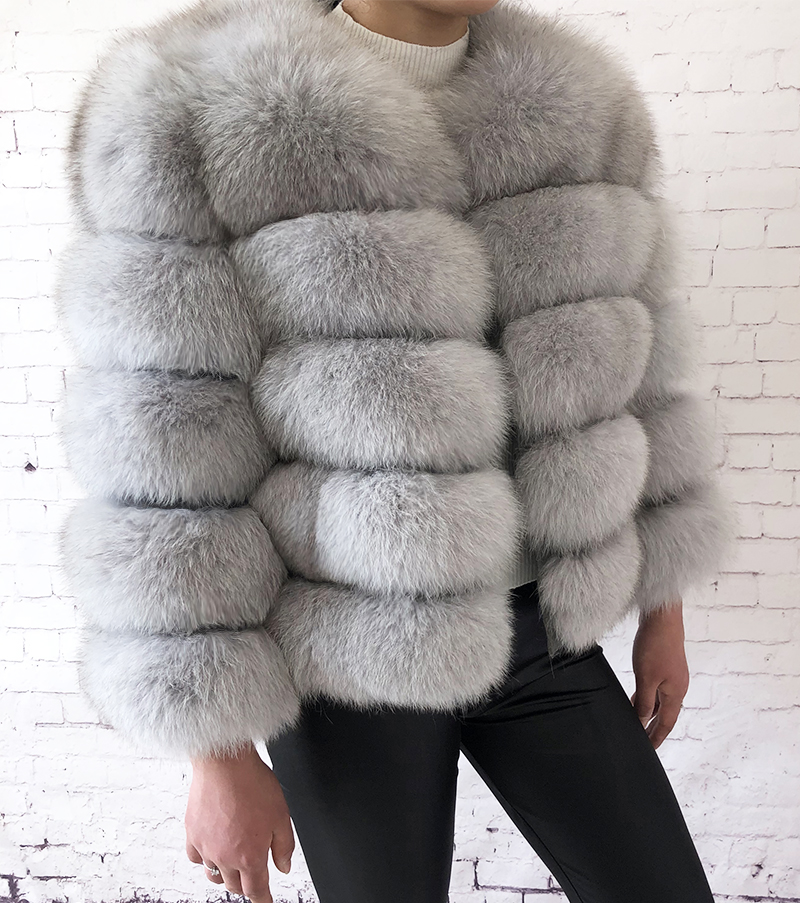 2019 new style real fur coat 100% natural fur jacket female winter warm leather fox fur coat high quality fur vest Free shipping 95