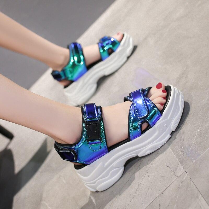 HTB12V AalKw3KVjSZFOq6yrDVXat Women Sandals 2019 New Summer Sandals Ladies Casual Shoes Women Bling Wedges Buckle Strap Platform Shoes 5 CM Sandalias Mujer