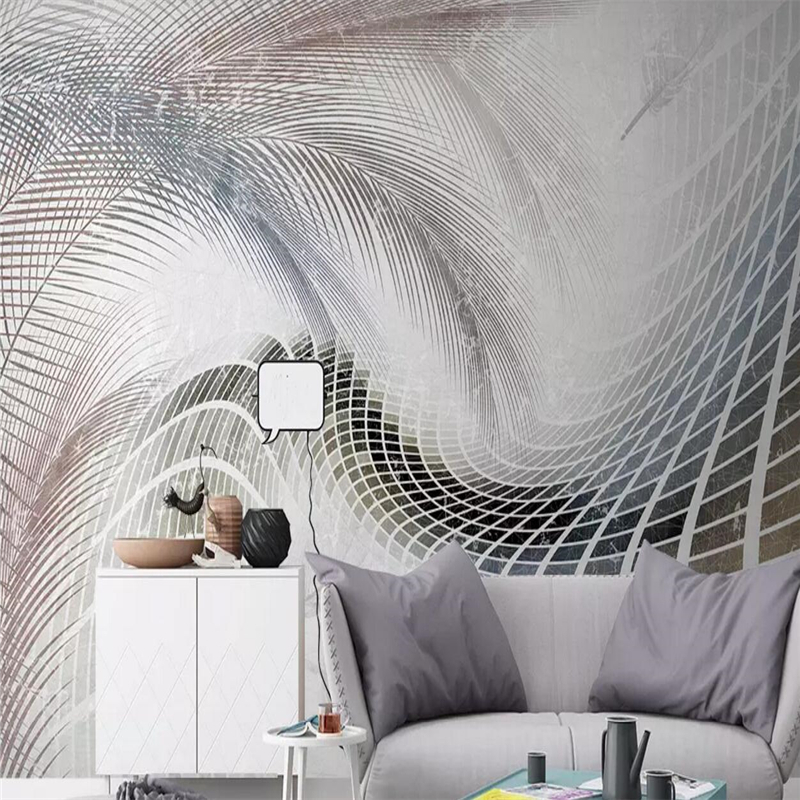 Nordic modern simple style feather abstract geometric lines background wall in Fabric Textile Wallcoverings from Home Improvement