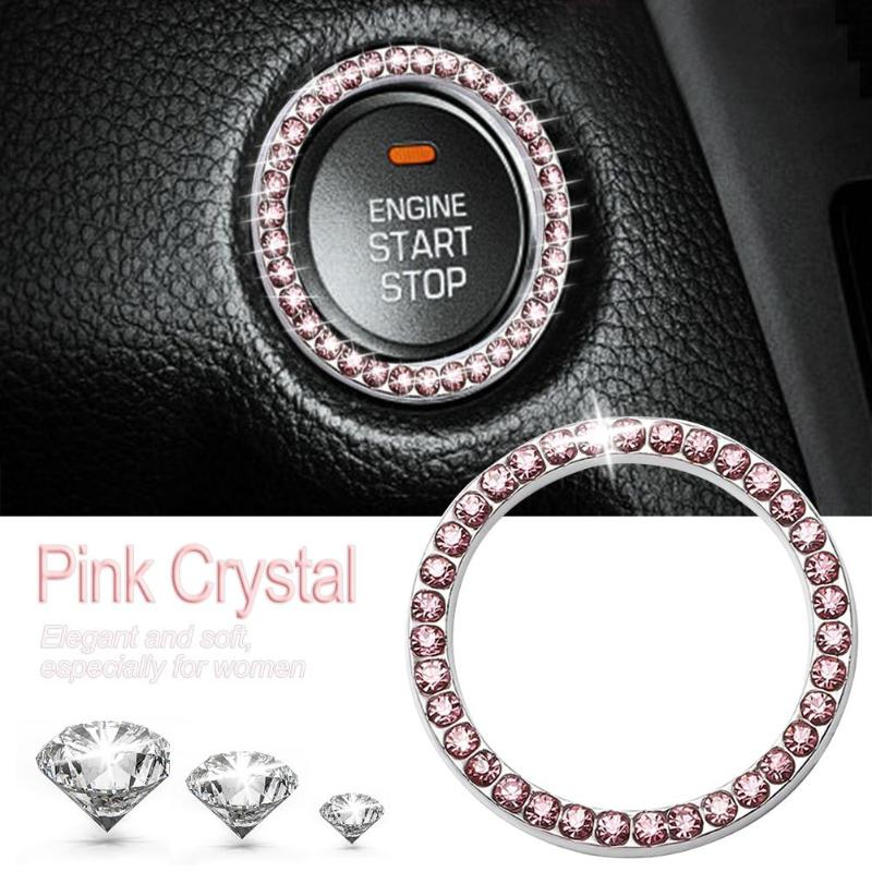 "HTB12V IzeuSBuNjSsplq6ze8pXaq 40mm/1.57"" Auto Car Bling Decorative Accessories Automobiles Start Switch Button Decorative Diamond Rhinestone Ring Circle Trim"