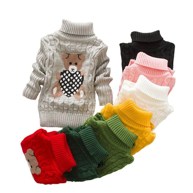 2018 autumn winter  Infant Baby Boys Girls Children Kids Knitted bear Pullovers Turtleneck Warm Outerwear Sweaters 1-8 year