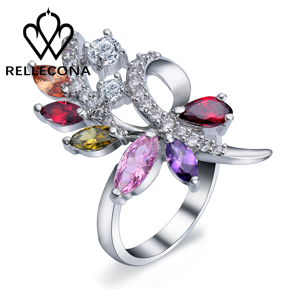 Fashion White Gold Finish Colorful Austrian Crystal Women Ring Costume  Jewelry Rings Free Shipping