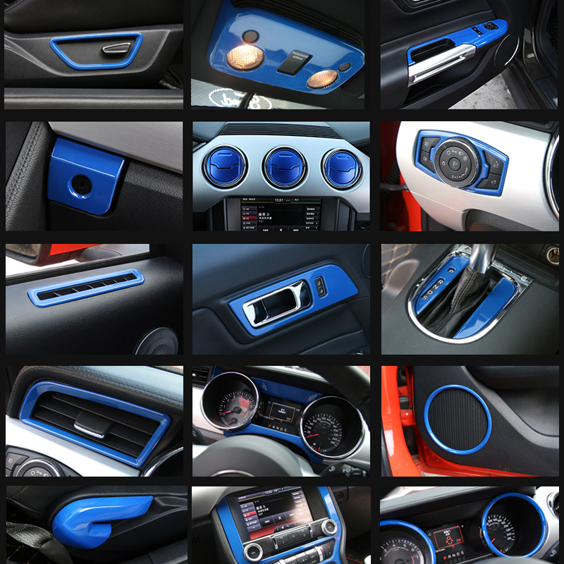 35pcs/set Blue/Red Interior Accessories Whole Kit Cover Trims For Ford mustang 2015 2016 2017 Left hand drive
