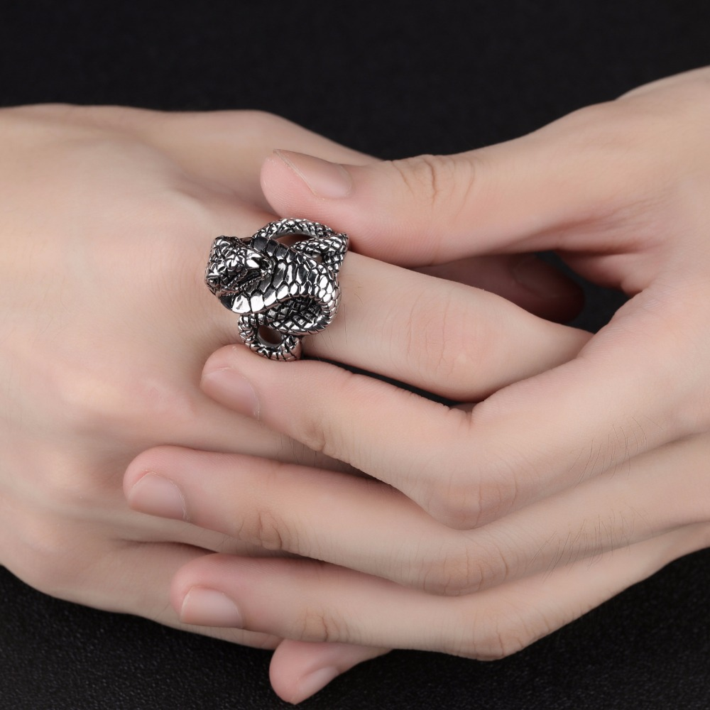 Vintage Style Zodiac Snake Cobra Totems Indian Ring 316l Stainless ...