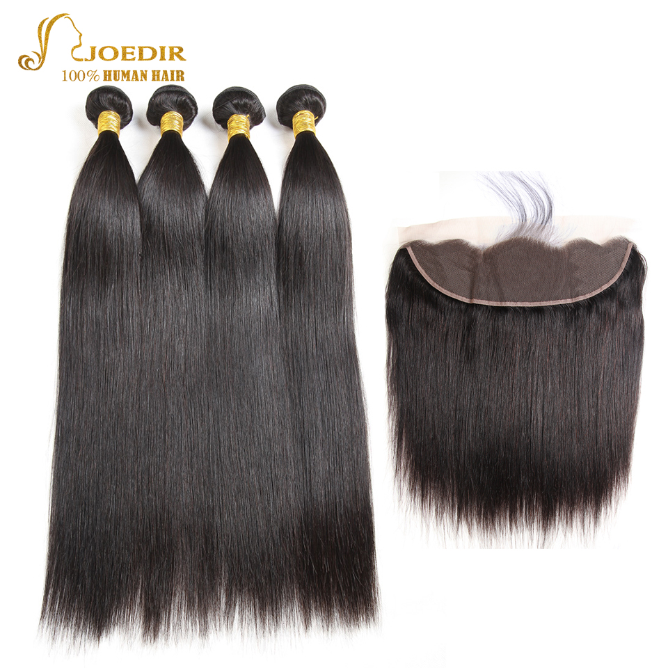 JOEDIR Hair Pre-Colored Indian Straight Human Hair Bundles With Closure Deal 13x4 Lace Frontal 4 Bundles Hair Extensions ...