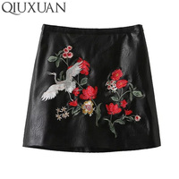 Trendy Embroidery Faux Leather Skirt 2017 Spring Summer Sexy Women High Waist Short Skirts Fashion Black Tight Skirt