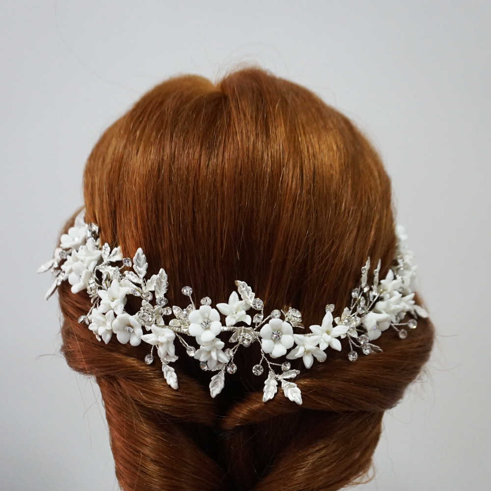 Delicate Silver Leaf Bridal Hair Vine Crown Handmade Porcelain Flower Headband uxury Wedding Headpiece Brides Hair Jewelry 2019 in Hair Jewelry from Jewelry Accessories
