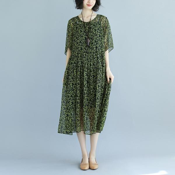BUYKUD robes d'été élégantes femmes vert à manches courtes col rond imprimé rayure noir lâche mince robe mi-longue avec Slip noir