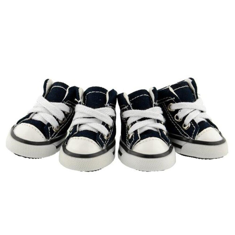 Cute 4Pcs/Set Denim Canvas Sports Shoes pet Dog Shoes Rubber Sole Ensures Anti-Slip Walking #013