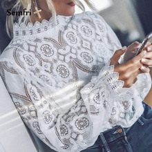 Semfri Elegant White Lace Blouse Shirt Sexy Hollow Out Top Woman Fashion 2019 New Black and White Long Lantern Sleeve Office Top