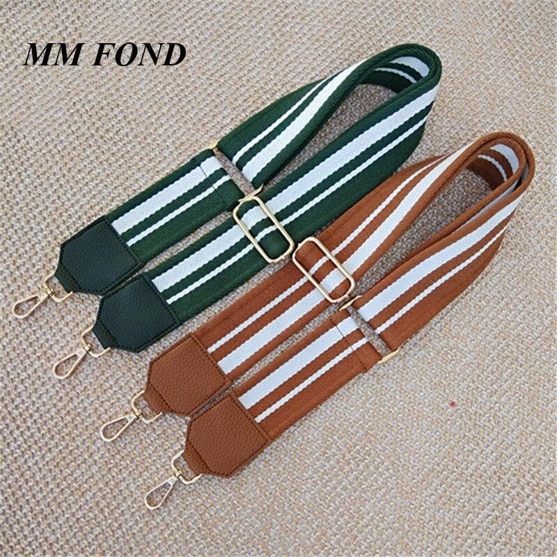 MM FOND gold clasp new stripe design women fabric handbag strap fresh stylish girls cross body shoulder bag belts bag part A251