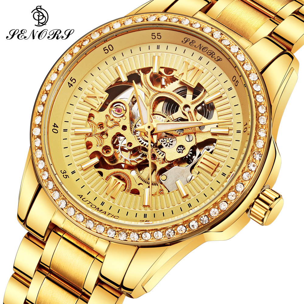 Hot Sale Luxury Golden Luminous Automatic Mechanical Skeleton Dial Stainless Steel Band Wrist Watch Men Best Gift Business Clock luxury binary unisex digital led wrist watch rectangle dial stainless steel new sale