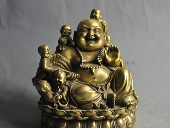"""6"""" chinese buddhism fane brass 5 five boy lad play noisy Maitreya Buddha statue"""