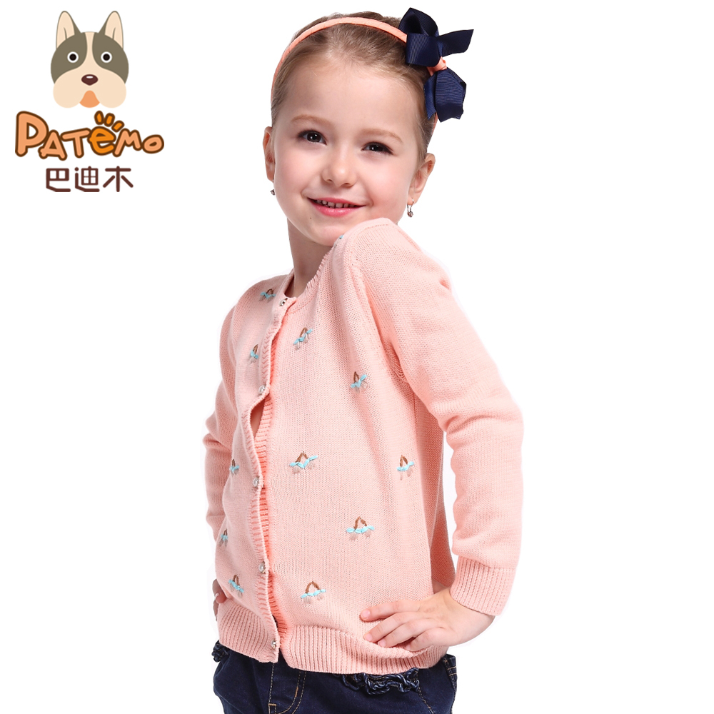 PATEMO Girls Cardigan Cotton Sweater Girl O-Neck Pink and Navy Blue Full Sleeves Tricot Kids Outwear Coat Sweater Children