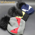 2016 Lady Genuine Real Dyeing Raccoon Fur Pompon Winter Cap Hat For Women Warm Fur Pompoms Hat Raccoon Bobble Hat Real Fur Hat