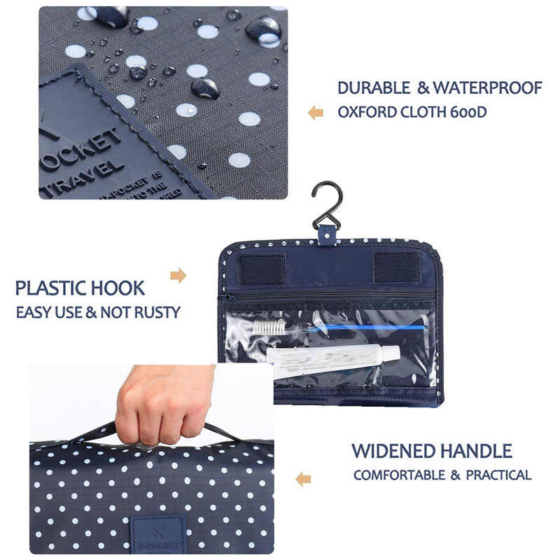 f24e74f79a80 HHYUKIMI Cosmetic Storage Bag Bathroom Hanging Toiletry Bag,Travel Portable  Waterproof Oxford Cosmetics Bags Makeup Organizer