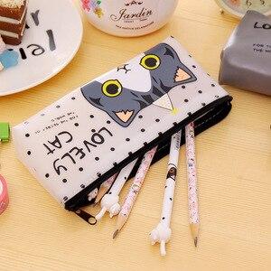 Image 4 - 20 pçs kawaii estojo de lápis bonito bonito bonito gato lona presente estuches escola caixa de lápis pencilcase material escolar papelaria