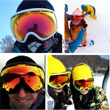2016 New Winter Men Women Snow Glasses Double Layer Anti Fog Multi Color Ultraviolet Big Spherical