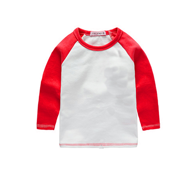 Girls Red T Shirts Dress Boys Plain Blank Tee Shirt Kids Long Sleeve