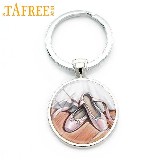 Ballent TAFREE um par Rosa Sapatos corrente chave keychain doce elegante romântico Vidro redondo para mulheres Rhodium jóias NS131