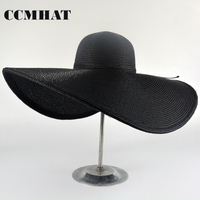CCMHAT 20.5 CM Wide Brim Sun Hat For Women Black Summer Super Wide Brim Beach Straw Hat Girls Summer Chapeu Feminino Panama Hat