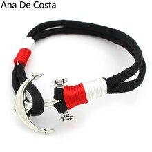 Ana De Costa 2017 New DIY Anchor Rope Bracelets Fashion Hooks Handmade Bracelet Fine Plated Jewelry Bangle For Men Women Gifts