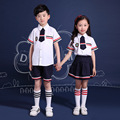 Children's Primary School Uniform Students Chorus Costumes Clothing Short-sleeved summer British Student School Uniforms Reading