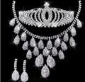 1 Unidades sistemas del pendiente del collar de la joyería Nupcial tiara para las novias de la boda del rhinestone sistemas de la joyería de plata 2015 accesorios nupciales