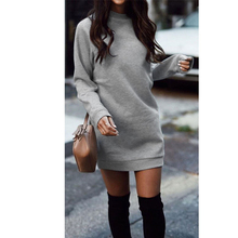 Knitted Winter Dress Women Casual O-Neck Black Red Warm Elegantn Long Sleeve Sexy Knitted Sweater DressFemale Clothing Wholesale
