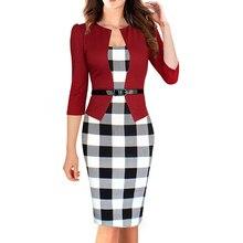 Estilo de negocios ol lápiz bodycon atractiva de las mujeres compruebe tartán dress