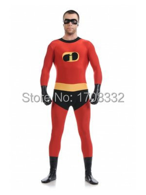 Mr Incredible Costume Fullbody red Spandex the Mr Incredible Costume with eyes mask free shipping
